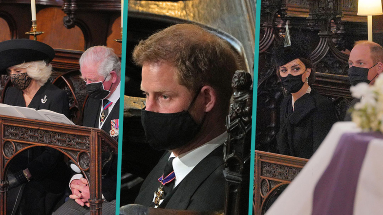 The Queen, Prince Harry, Prince William and More Royal Family Members At Prince Philip's Funeral