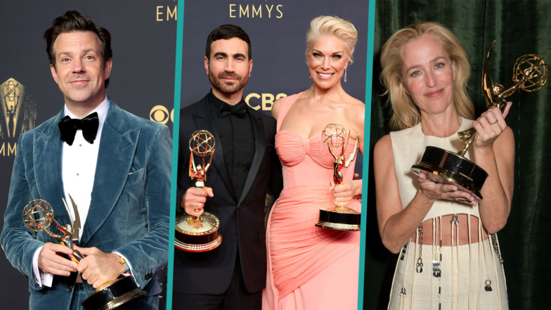 2021 Emmy Award Winners Posing With Their Statues